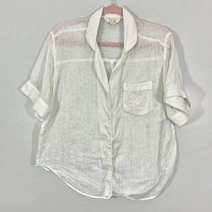 Vintage Sheer Soft Button Front Embroidered Top